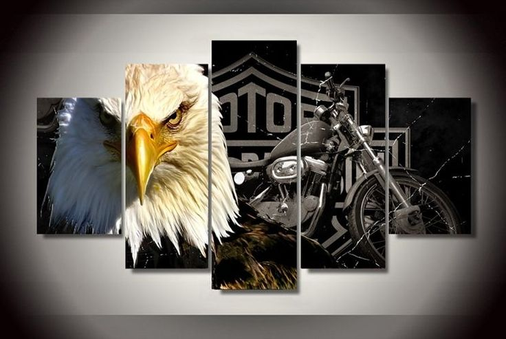 Framed Picture Harley Davidson Motor Cycles Eagle Printed Canvas Home Decor Wall #Good2greatshop #ArtDeco