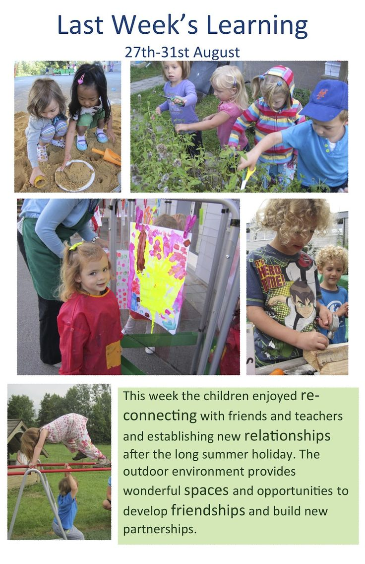 Documentation about outdoor learning - pre-school and pre-k.