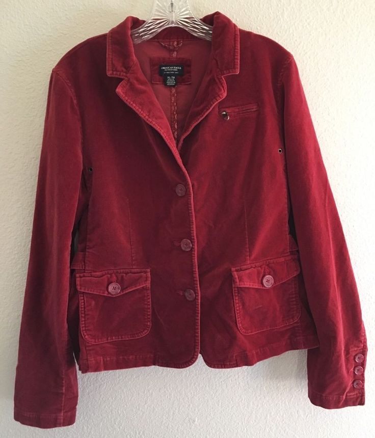 American Eagle XL Blazer Red Stretch Velvet L/S 3 Button Buckle Jacket…
