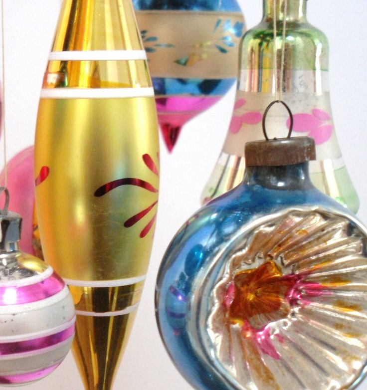 Vintage glass Christmas decorations