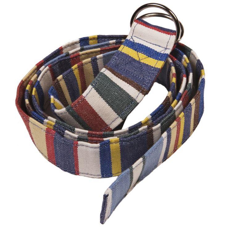Fabric Belt - Suitable for Vegans - Blue Deckchair Stripe