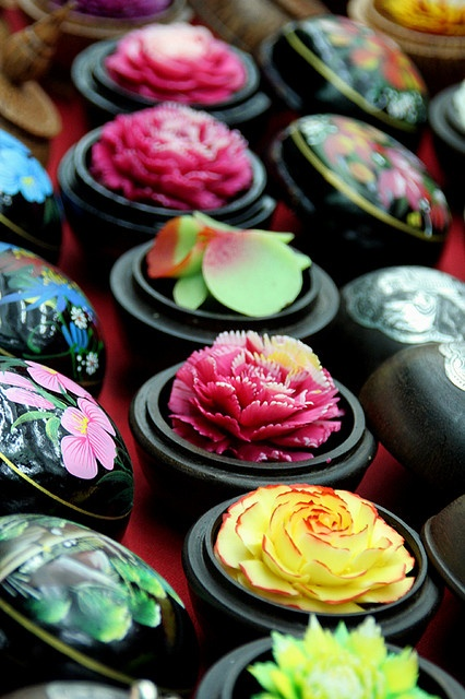 Soap carved into flower shapes, souveneir stand, Koh Samui.