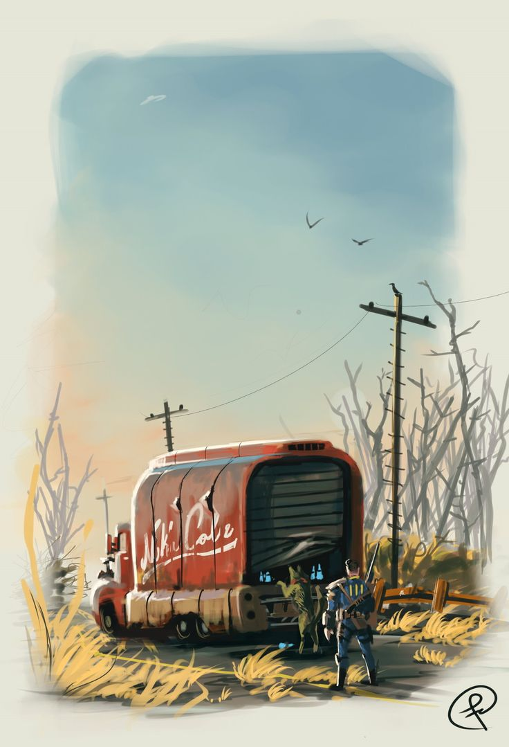 Nuka Cola truck, Fernando Correa on ArtStation at https://www.artstation.com/artwork/JkAZZ