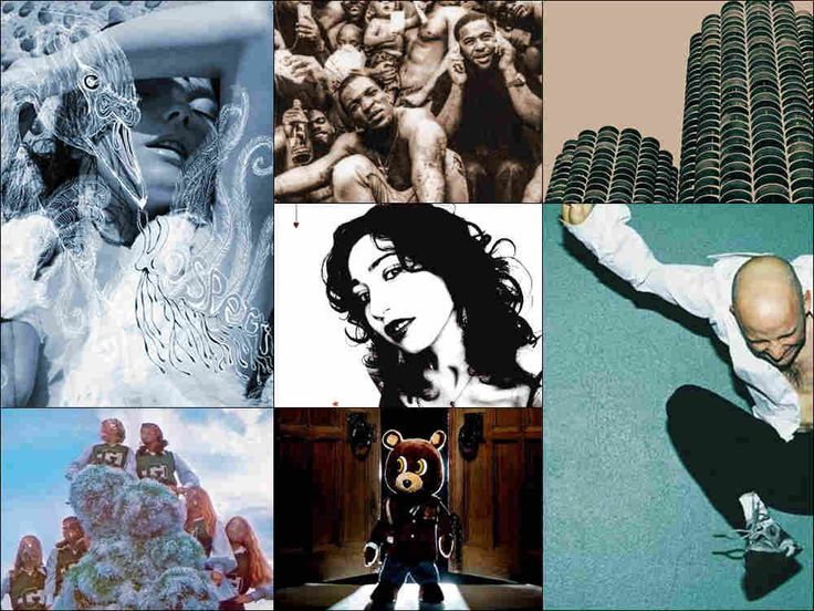 Clockwise from upper left: Cover art for Björk's Vespertine, Wilco's Yankee Hotel Foxtrot, Moby's Play, Kanye West's Late Registration, Sleigh Bells' Treats and Regina Spektor's Begin To Hope