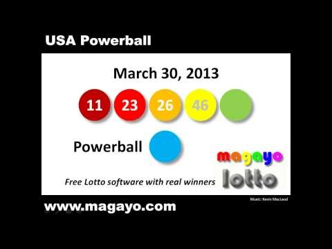 USA Powerball drawing results for March 30, 2013. Get the latest and historical Powerball results @  http://www.magayo.com/lottery/results_us_powerball.php