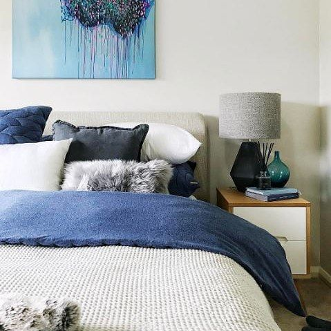 How about these blue and grey tones! We are in love with the styling by @tlifecreative on the Copenhagen bedroom suite.  What do you think? #mybedshed