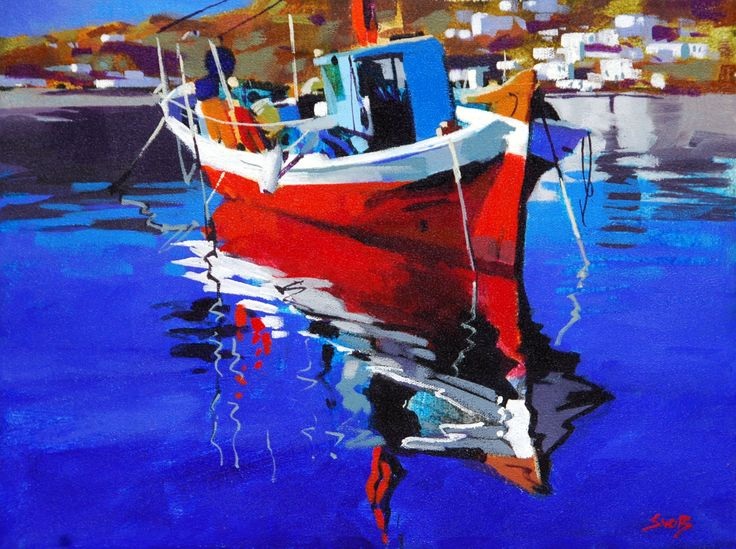 Greek Fishing Boat By Mike Svob 12x16 Abstract Paintings