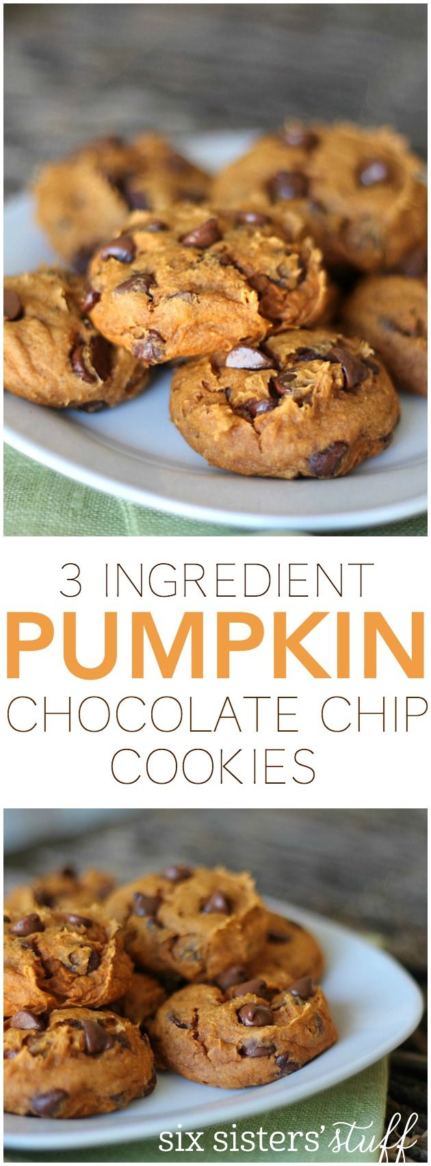 3 Ingredient Pumpkin Chocolate Chip Cookies from SixSistersStuff.com. So easy and delicious!