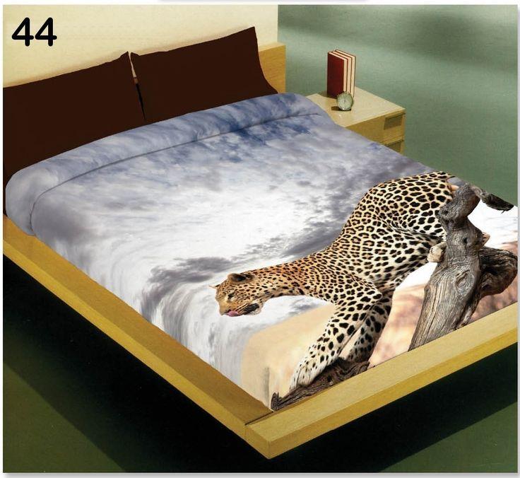 Bílý 3D potah na postel s leopardem