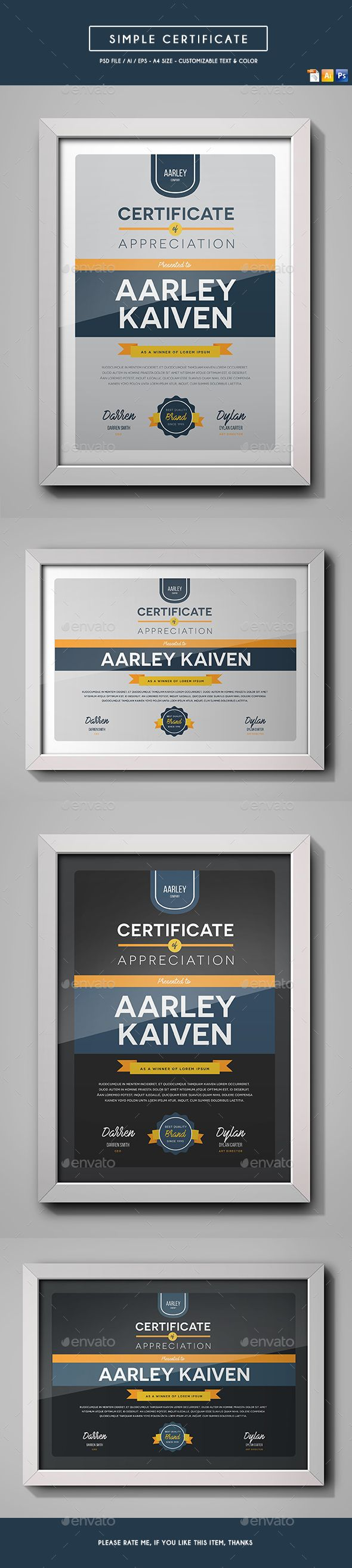 108 best certificate templates images on pinterest infographic simple multipurpose certificate free download xflitez Image collections