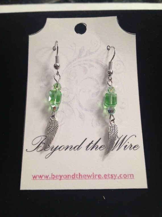 Green Swarovski Crystal Feather Charm Earrings / by BeyondtheWire