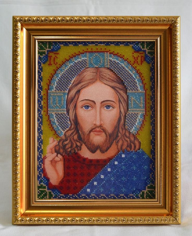 Handmade Bead Embroidery. Icon. Jesus. Handwork picture. Partially embroidered with beads. Is in a frame under anti-reflective glass.  Icon of Our Lady of Kazan is one of two Wedding icons in the Orthodox Church . Classic she is depicted in blue.