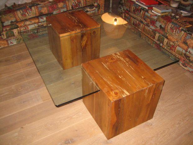Mesa de centro de dise o moderno y ligero fabricada con - Cubos de madera ...