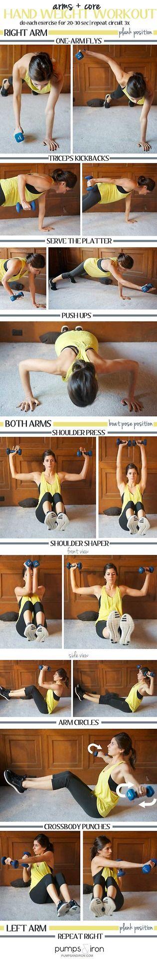 Hand weight workout.