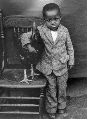 A Boy and his Rooster ~ 1920