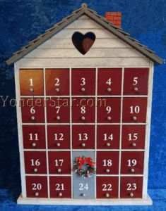 Trying to decide if I want to do a village style one or a house like this.  Snowy House Wooden Advent Calendar