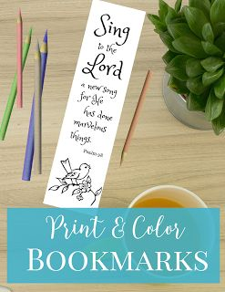 Sing to the Lord a new song, for he has done marvelous things. >>FREE PRINTABLE BOOKMARKS<< Print and color these beautiful scripture book…