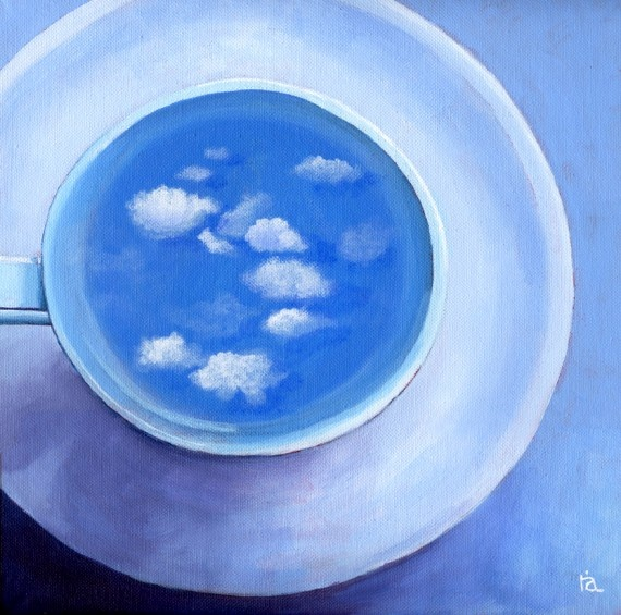 Clouds in My Coffee by Ria Hills | ArtsyHome.com: Acrylic Paintings, Coffee Fine, Cup Acrylic, Fine Art, Coffee Cups, Artist Ria Hills, Darling Clouds