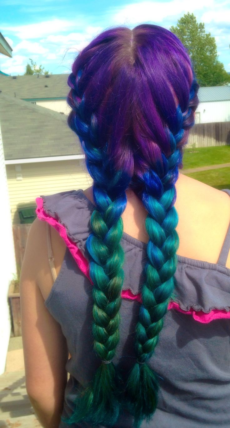 "Mermaid hair! #ombre We used ""Splat"" hair dyes in BERRY BLAST, BLUE ENVY, AQUA RUSH, and DEEP EMERALD.   http://www.splathaircolor.com/"