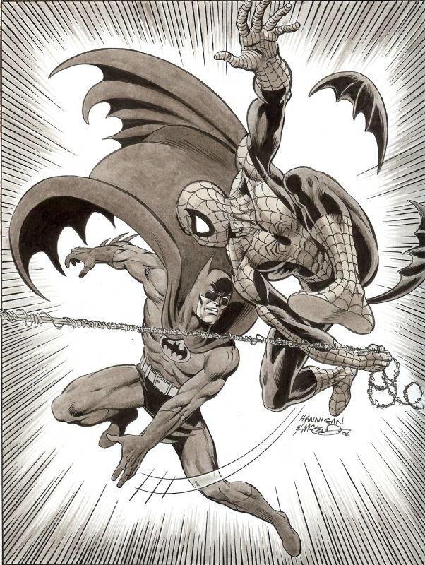 Batman Spiderman Ink Wash Comic Art
