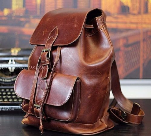 VTG-American-Made-NYC-Brown-Oiled-Saddle-Leather-Rucksack-Backpack-Mens-Bag-XL