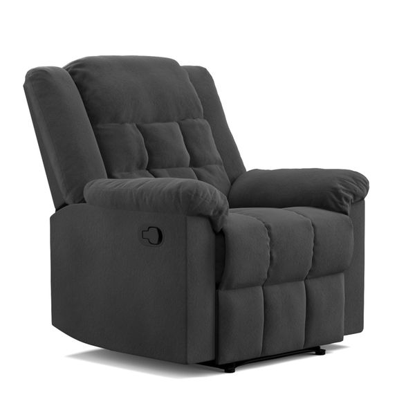 ProLounger Black Pebbles Suede Wall Hugger Glider Recliner Flat Wingback Chair