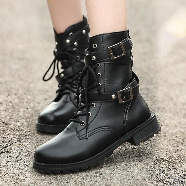 af05b7b6848 Women High Boots Gothic Shoes Black Military Boots Plus Size Motorcycle Boots  Buckle Low Heels Shoes