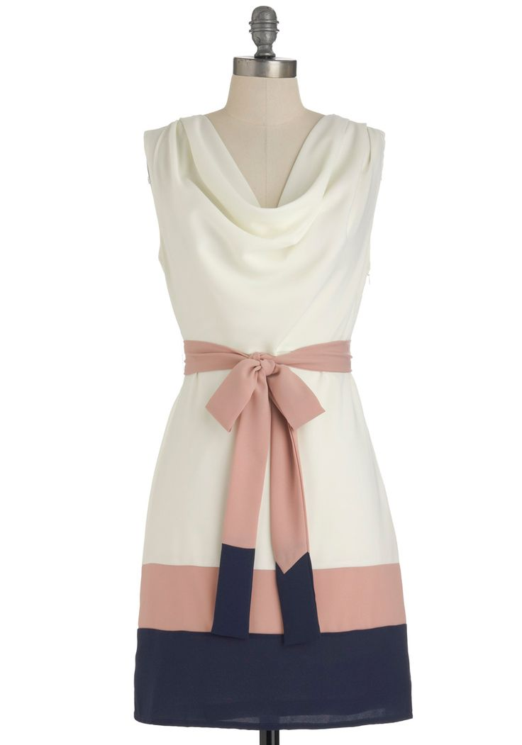 $99.99 // Lines of Poetry Dress - Mid-length, Blue, Pink, White, Color Block, Party, Sheath / Shift, Sleeveless, Spring, Belted