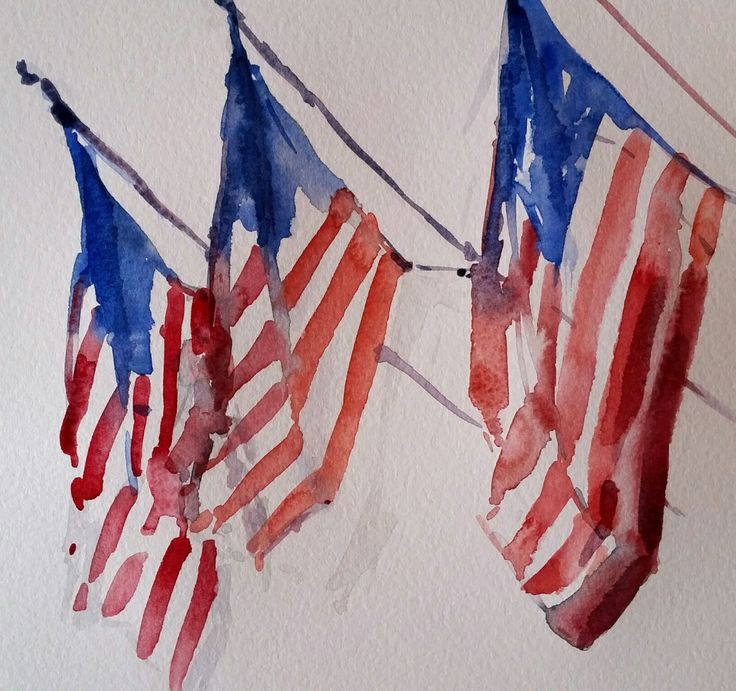 American Flags, watercolor, 8x8   Art & Illustration ... Famous American Flag Art