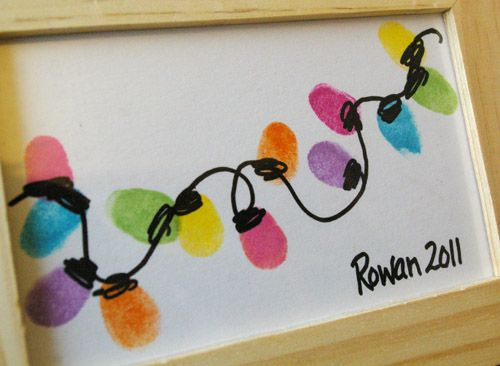 thumbprint Christmas lights - preschool parent gift idea