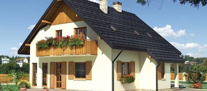 Casa de lemn cu aspect placut, proiectata pe doua niveluri: parter si etaj mansardat, planul casei fiind aproape patrat.  Detalii proiect: http://www.caselemnbarat.ro/2013/proiect-casa-lemn-model-11/