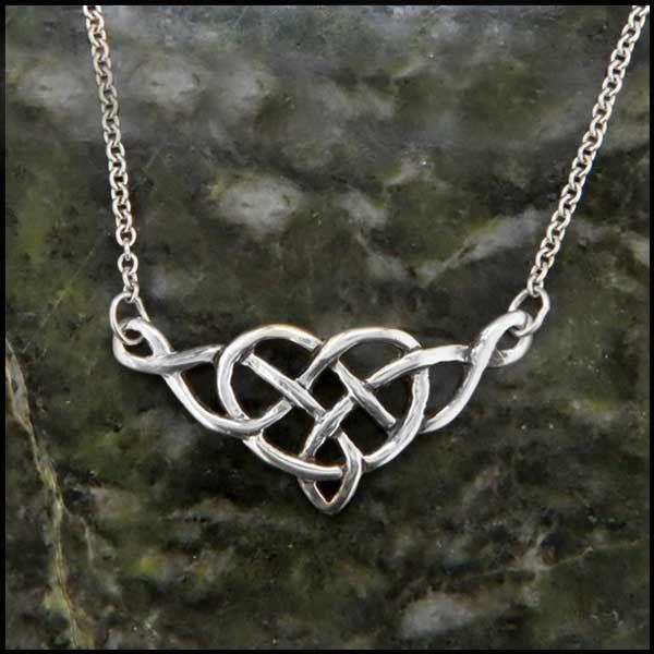An open knotwork Celtic heart pendant in Sterling Silver.