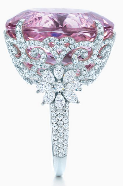 Tiffany and Co kunzite and diamond ring. Via Diamonds in the Library.
