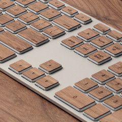 Lazerwood Keys for Apple Keyboard - wood grain in cherry or walnut