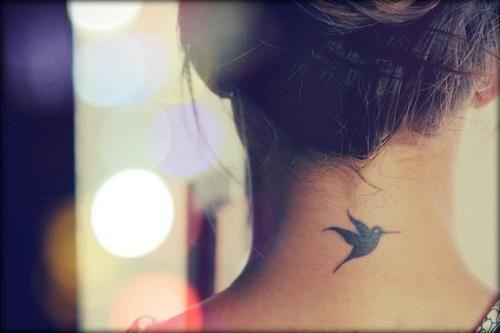 Colibri Neck Tattoo http://tattoos-ideas.net/colibri-neck-tattoo/ Birds Tattoos, Minimal Tattoos, Neck Tattoos
