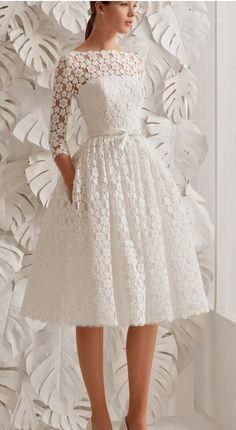 White prom dress , 3/4 sleeves lace prom dress , short prom dress , o neck evening gown , knee length prom dress , aline short party dress cg1589