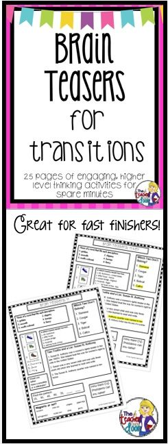 This set of 25 pages with more than 250 higher level thinking activities are perfect when you have an extra five minutes. Awesome to have on hand for a substitute and great for fast finishers too! (TpT Resource)