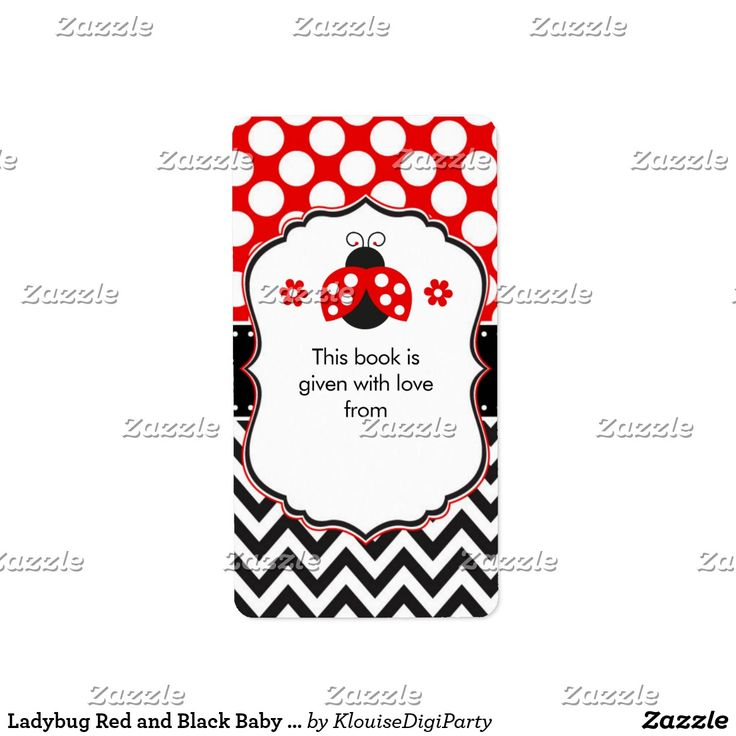 Ladybug Red and Black Baby Shower Bookplate