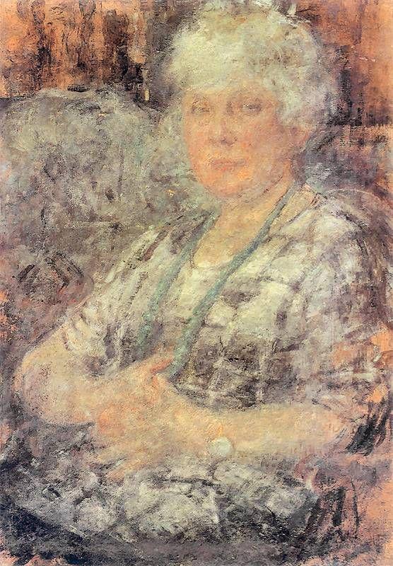 Olga Boznańska Kraków 1865 - Paryż 1940 Portret malarki, Francis Thomasson Ok. 1925. Olej na tekturze. Muzeum Narodowe w Krakowie.