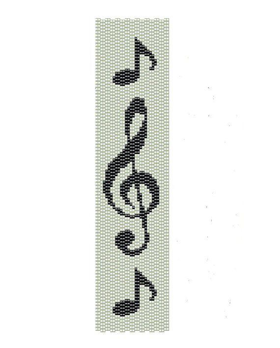 Music Peyote Pattern  Peyote Bracelet Musical by BeadingWonders, $3.50