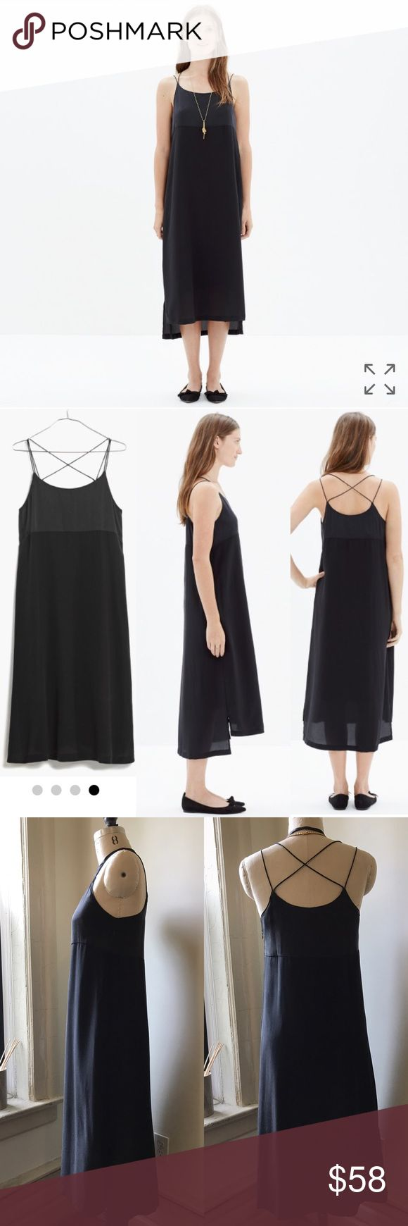 """Madewell Silk Magic Hour Dress Beautiful silk dress that can easily be dressed up or down. Size says size 2, but I'm more of a 4 to 6 and fit it well. For a size 4-6 person; it's more fitted than the model, more like the dressform fit. The top is fully lined in silk and the skirt has a poly lining.  Only worn once. The charmeuse top has a washed silk look (but does not look """"worn"""" at all) and is a nice contrast to the matte crepe skirt portion. Please ask any questions and make offers with…"""