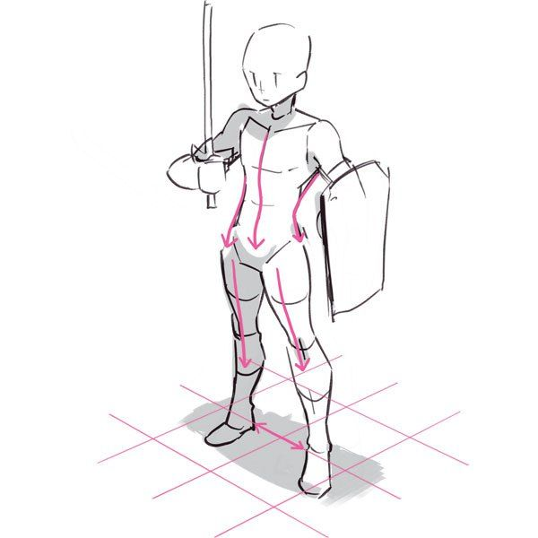 Person with sword and shield reference