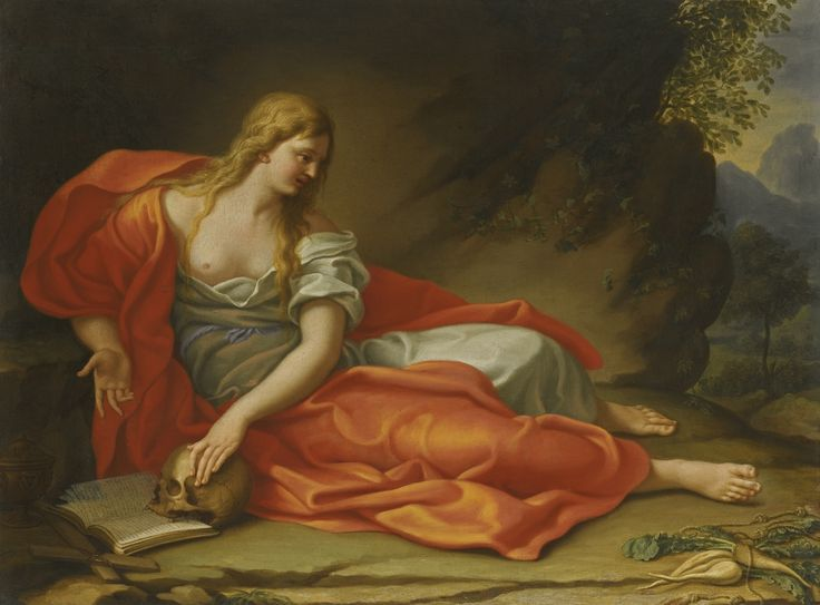 Roman School, 18th century THE PENITENT MAGDALENE oil on canvas, unframed 48.5 by 65.2 cm.; 19 1/4  by 25 5/8  in.: