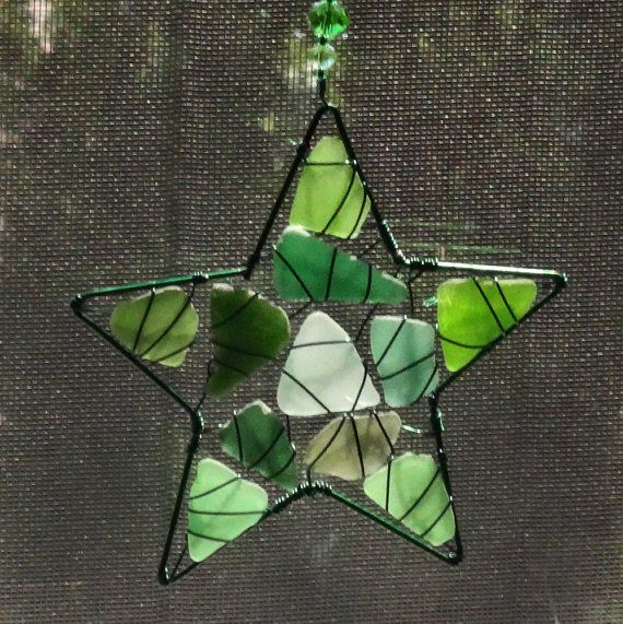 Shades of Green Sea Glass Suncatcher with Star  Design