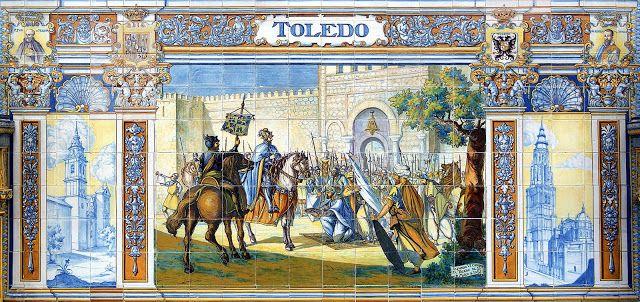 Toledo conquistada en 1.085 por Alfonso VI el Bravo, rey de León, Galicia y Castilla. Alfonso acudió a Toledo en respuesta a la petición de ayuda del rey taifa Al-Qádir, vasallo suyo, para sofocar una rebelión interna. El rey Alfonso, que a lo largo de su vida se distinguió por numerosos hechos de dudoso honor (desde traiciones hasta envenenamientos), ya que estaba allí, cercó y finalmente conquistó la ciudad, anexionándola al reino de Castilla.