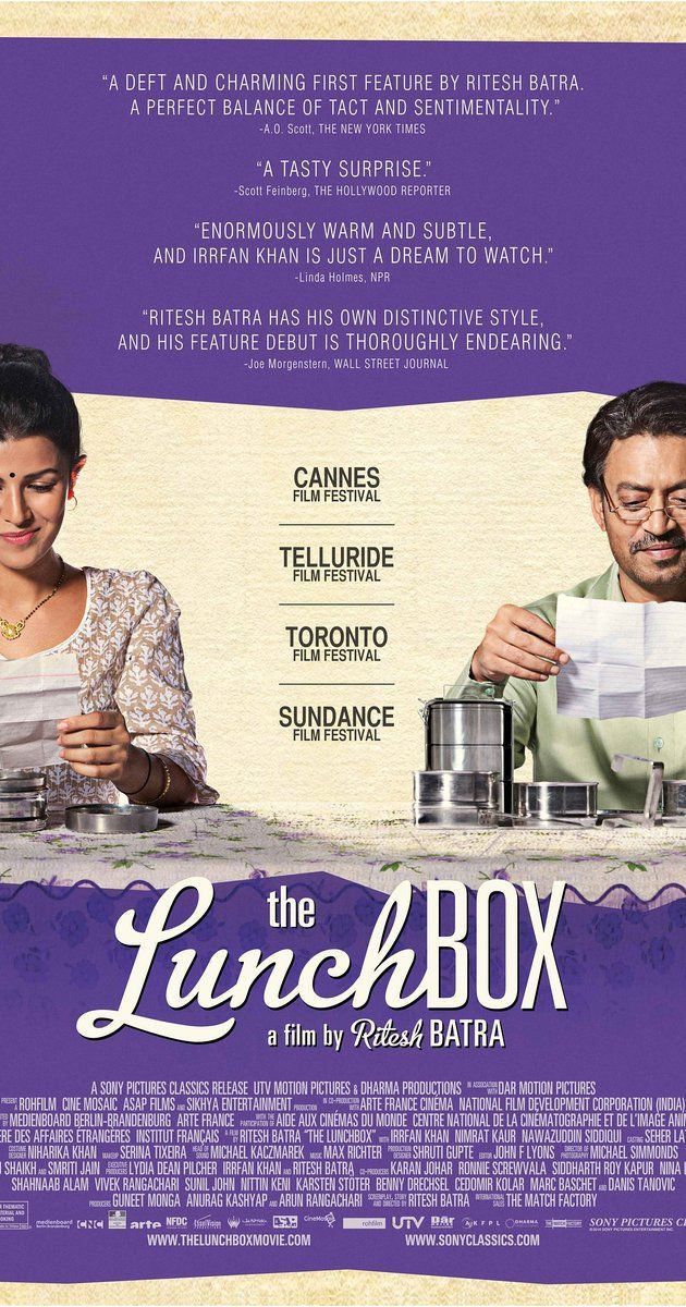 Directed by Ritesh Batra.  With Irrfan Khan, Nimrat Kaur, Nawazuddin Siddiqui, Lillete Dubey. A mistaken delivery in Mumbai's famously efficient lunchbox delivery system connects a young housewife to an older man in the dusk of his life as they build a fantasy world together through notes in the lunchbox.