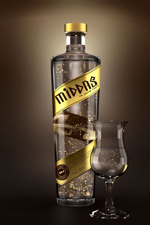 Middas, rum with edible 23 carat gold flakes   #packaging #design