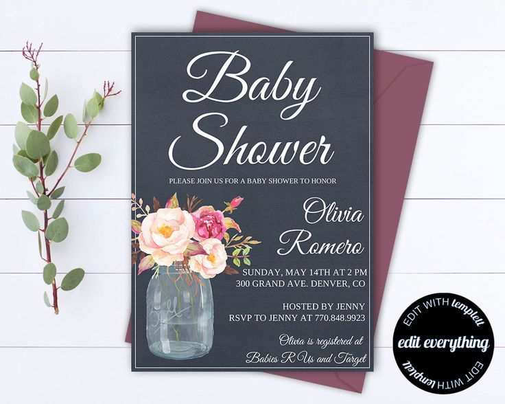 Floral Baby Shower Invitation Template - Floral Baby Shower Templates - Instant Download Girl Baby Shower Invites - Navy Baby Shower by MintedMemories on Etsy