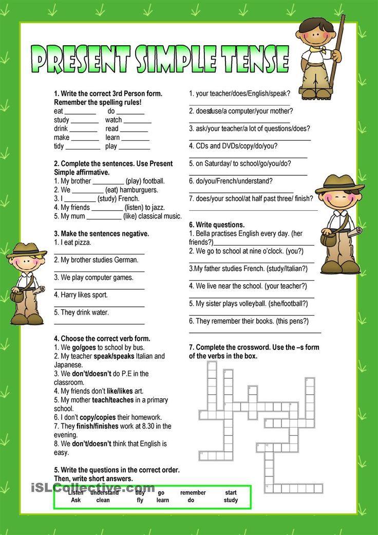 Present Simple worksheet kindergarten level