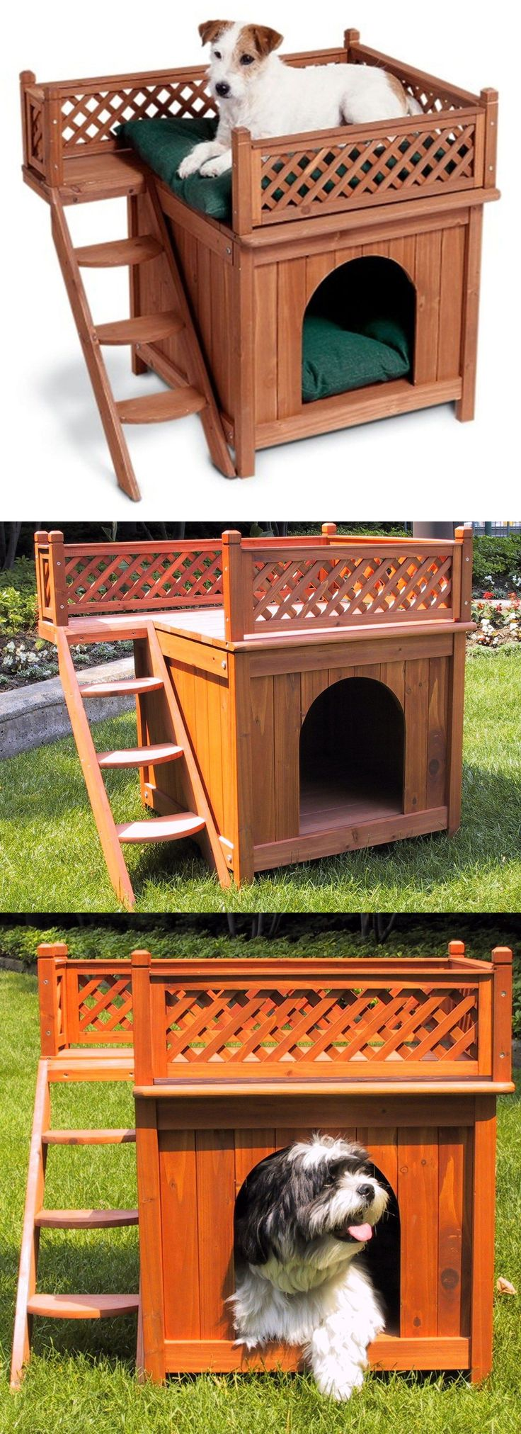 Dog Houses 108884: Wood Pet House Small Dog Cat Bed Durable Comfortable Wooden View Indoor Outdoor BUY IT NOW ONLY: $97.62